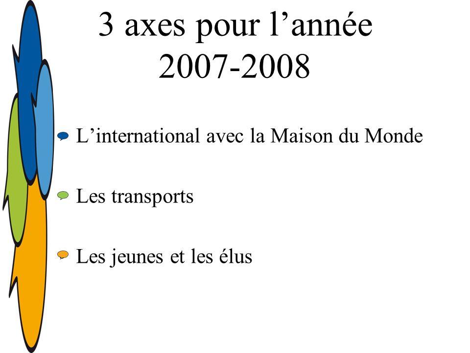 3 axes pour lannée 2007-2008 Linternational avec la Maison du Monde Les transports Les jeunes et les élus