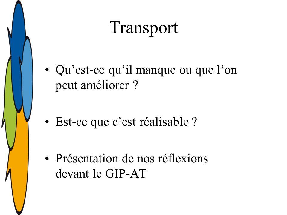 Transport Quest-ce quil manque ou que lon peut améliorer .
