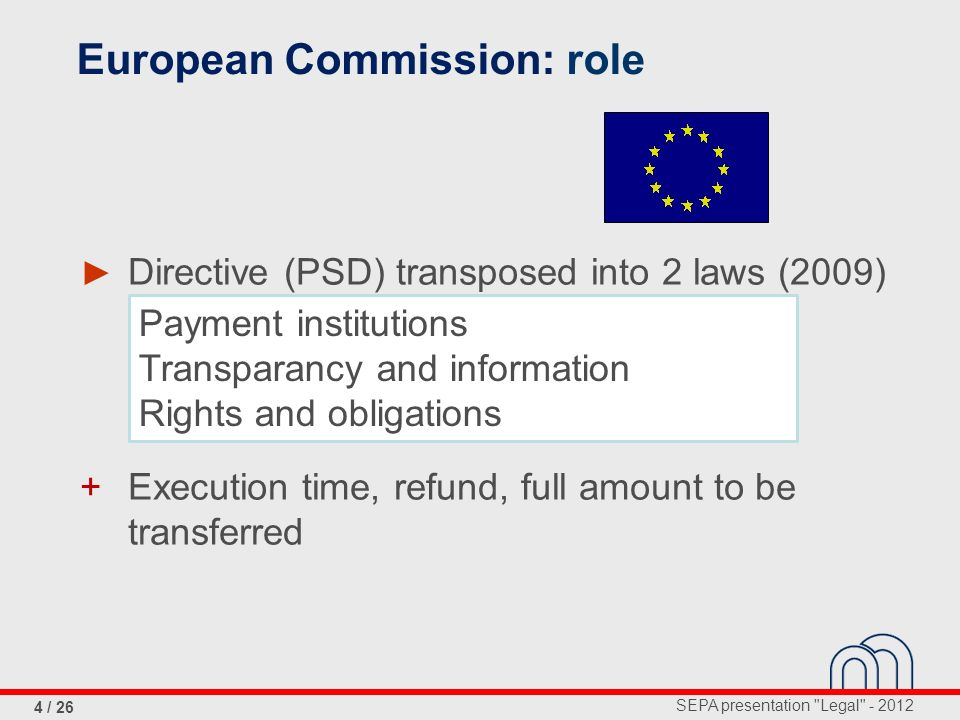SEPA presentation Legal - 2012 15 / 26 Regulation of the European Parliament and of the Council NL= http://eur-lex.europa.eu/LexUriServ/LexUriServ.do?uri=OJ:L:2012:094:0022:0037:NL:PDF FR= http://eur-lex.europa.eu/LexUriServ/LexUriServ.do?uri=OJ:L:2012:094:0022:0037:FR:PDF Credit transfers shall be carried out in accordance with the requirements...