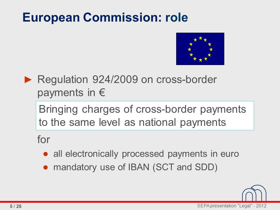 SEPA presentation Legal - 2012 5 / 26 Regulation 924/2009 on cross-border payments in for all electronically processed payments in euro mandatory use of IBAN (SCT and SDD) Bringing charges of cross-border payments to the same level as national payments European Commission: role
