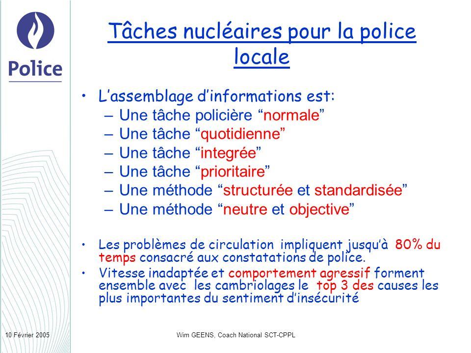 Wim GEENS, Coach National SCT-CPPL10 Février 2005 Tâches nucléaires pour la police locale Lassemblage dinformations est: –Une tâche policière normale