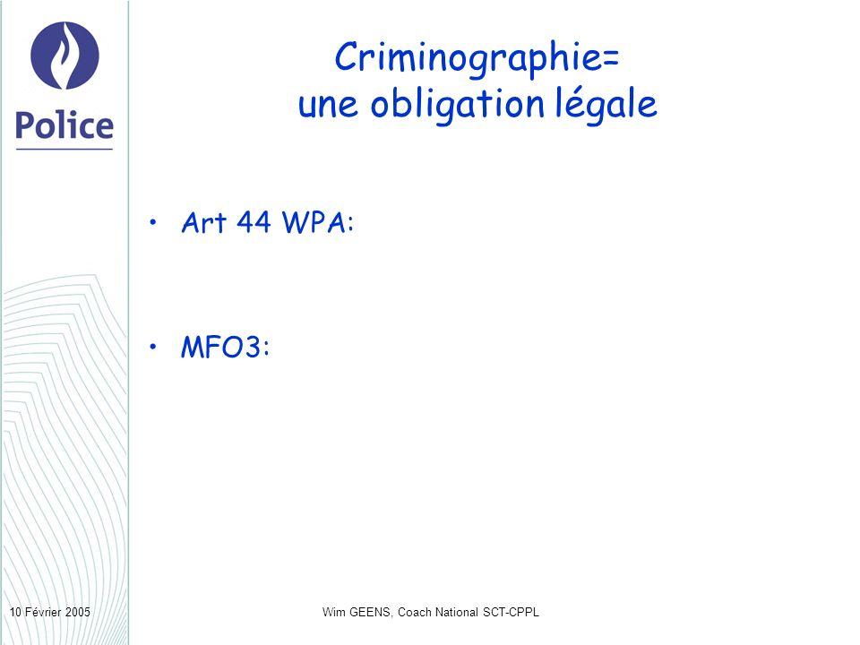 Wim GEENS, Coach National SCT-CPPL10 Février 2005 Criminographie= une obligation légale Art 44 WPA: MFO3: