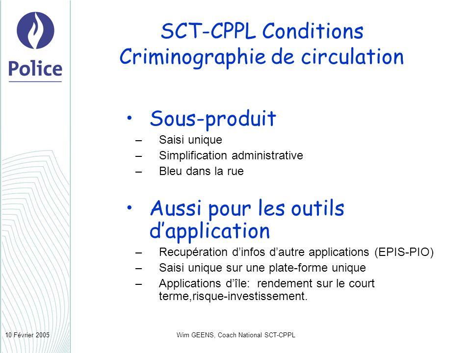 Wim GEENS, Coach National SCT-CPPL10 Février 2005 SCT-CPPL Conditions Criminographie de circulation Sous-produit –Saisi unique –Simplification adminis