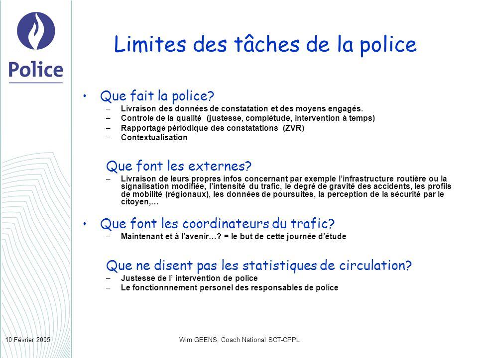 Wim GEENS, Coach National SCT-CPPL10 Février 2005 Limites des tâches de la police Que fait la police? –Livraison des données de constatation et des mo