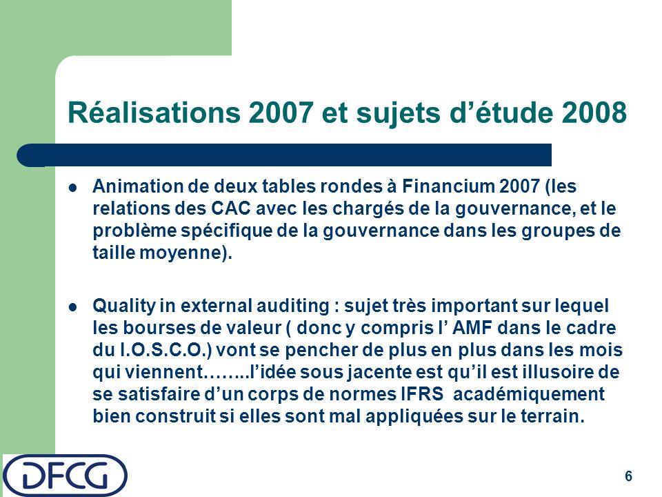 6 Réalisations 2007 et sujets détude 2008 Animation de deux tables rondes à Financium 2007 (les relations des CAC avec les chargés de la gouvernance, et le problème spécifique de la gouvernance dans les groupes de taille moyenne).