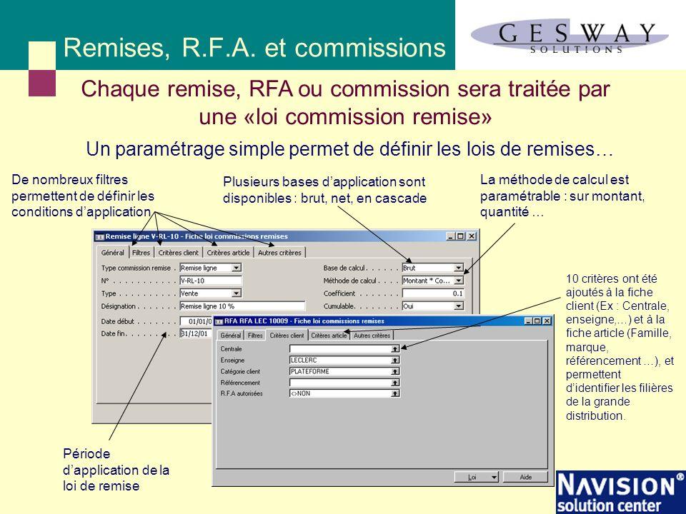 Chaque remise, RFA ou commission sera traitée par une «loi commission remise» Remises, R.F.A. et commissions 10 critères ont été ajoutés à la fiche cl