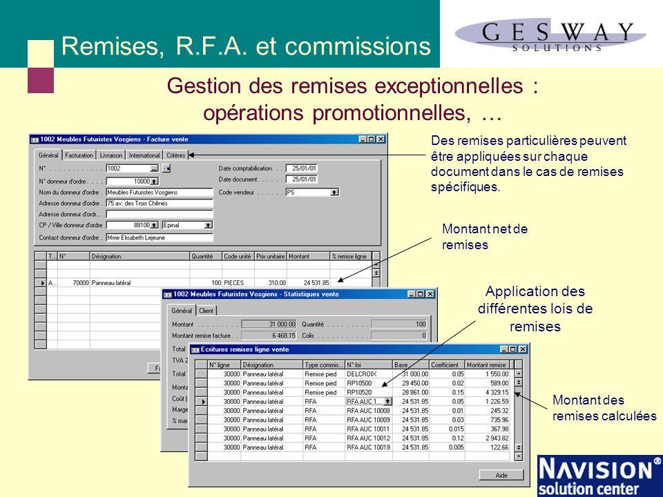 Remises, R.F.A. et commissions Application des différentes lois de remises Gestion des remises exceptionnelles : opérations promotionnelles, … Montant