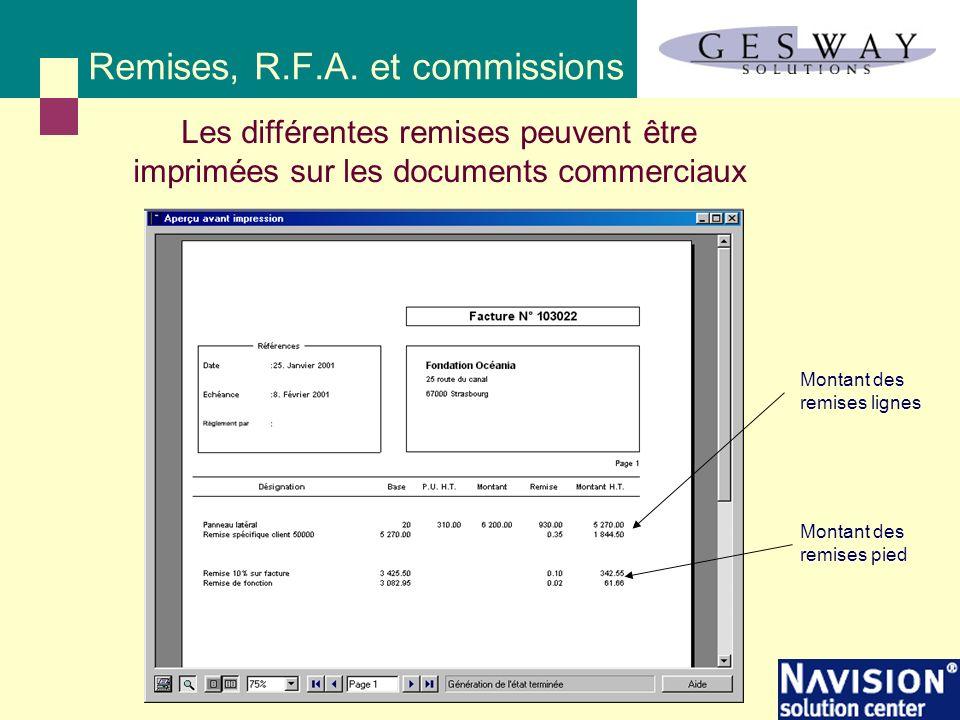 Remises, R.F.A. et commissions Les différentes remises peuvent être imprimées sur les documents commerciaux Montant des remises pied Montant des remis