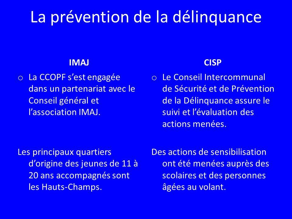 La prévention de la délinquance IMAJ o La CCOPF sest engagée dans un partenariat avec le Conseil général et lassociation IMAJ. Les principaux quartier