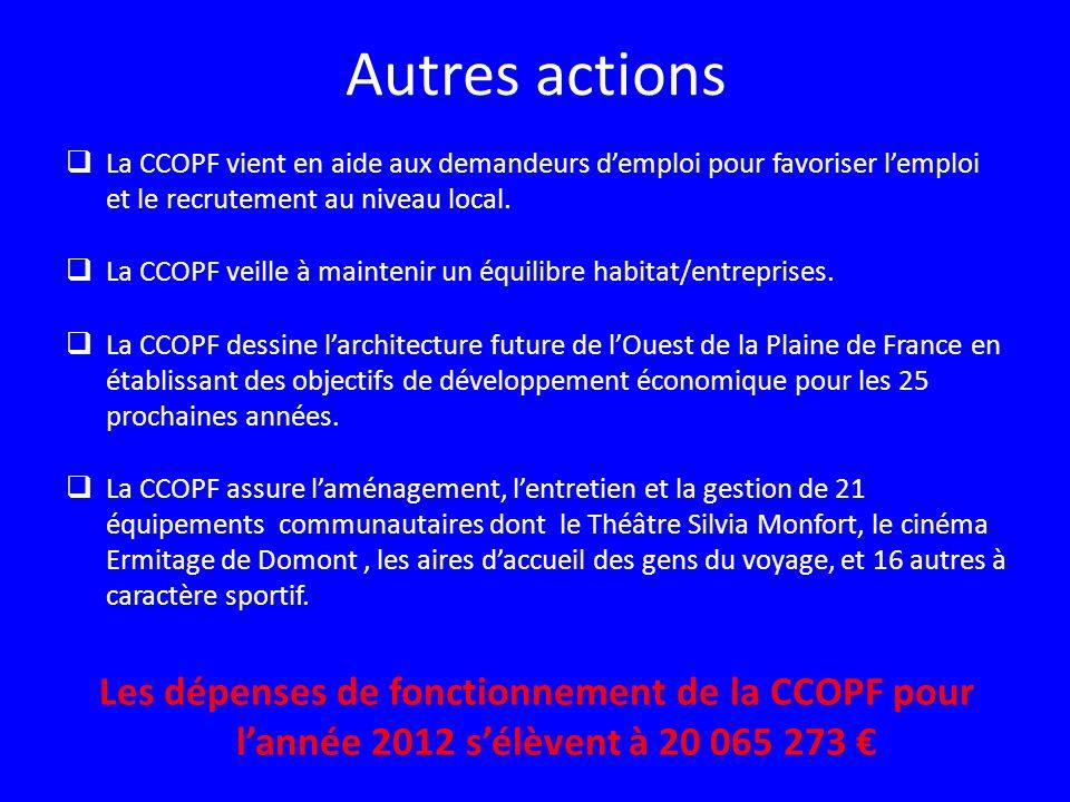 Autres actions La CCOPF vient en aide aux demandeurs demploi pour favoriser lemploi et le recrutement au niveau local. La CCOPF veille à maintenir un