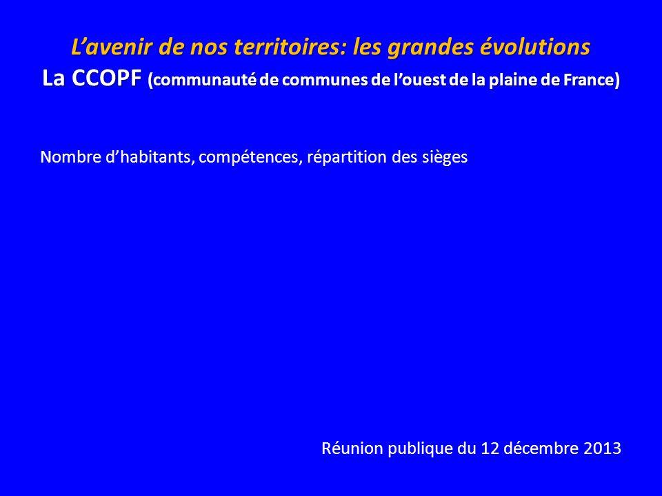 Lavenir de nos territoires: les grandes évolutions La CCOPF (communauté de communes de louest de la plaine de France) Nombre dhabitants, compétences,