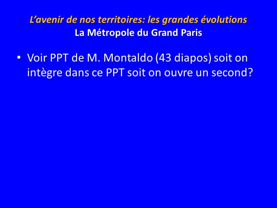 Lavenir de nos territoires: les grandes évolutions La Métropole du Grand Paris Voir PPT de M. Montaldo (43 diapos) soit on intègre dans ce PPT soit on