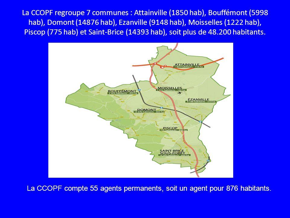 La CCOPF regroupe 7 communes : Attainville (1850 hab), Bouffémont (5998 hab), Domont (14876 hab), Ezanville (9148 hab), Moisselles (1222 hab), Piscop
