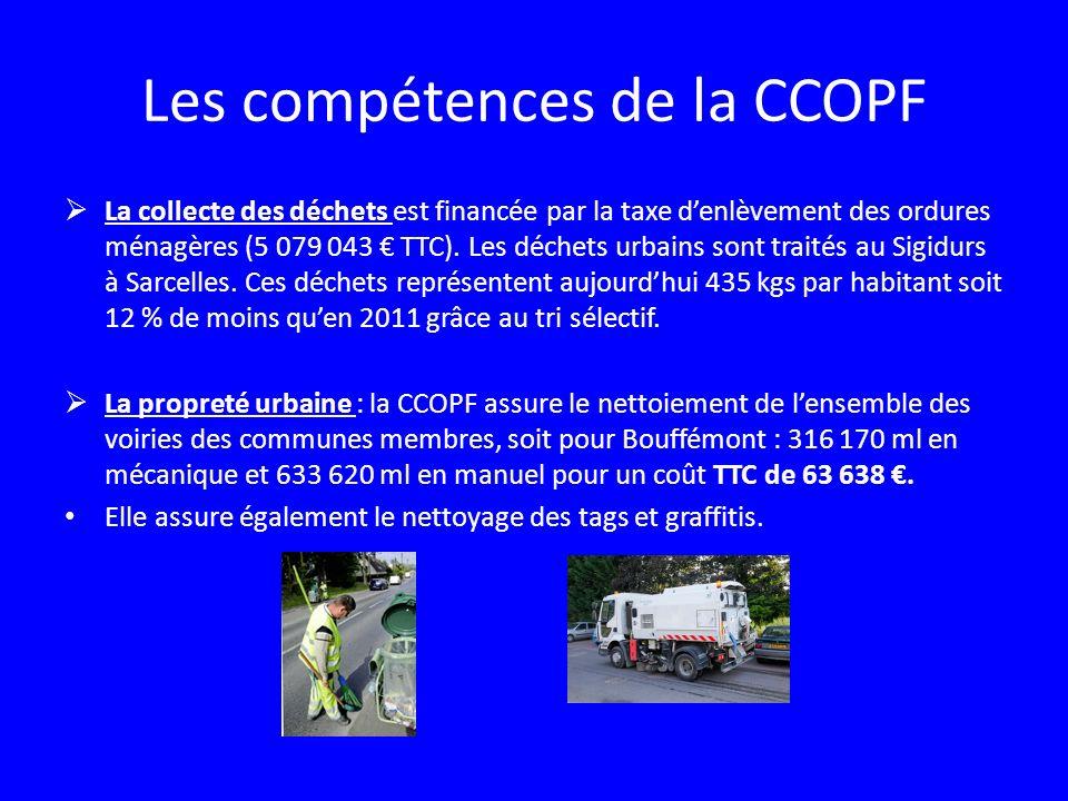 Les compétences de la CCOPF La collecte des déchets est financée par la taxe denlèvement des ordures ménagères (5 079 043 TTC). Les déchets urbains so