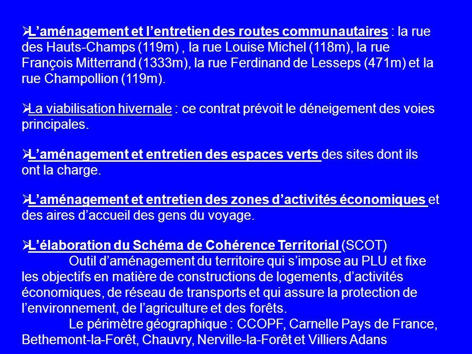 Laménagement et lentretien des routes communautaires : la rue des Hauts-Champs (119m), la rue Louise Michel (118m), la rue François Mitterrand (1333m)