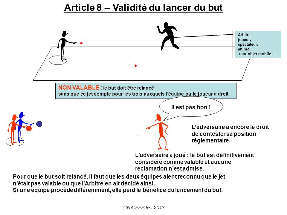 Article 7 – Lancer du but -Suite Si, après trois jets consécutifs par la même équipe, le but n'a pas été lancé dans les conditions réglementaires … …