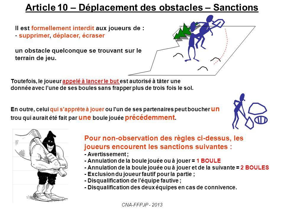 Art. 9 – La Flaque deau. FLAQUE D EAU Le but flotte librement But nul - réf. art.13 CNA-FFPJP - 2013