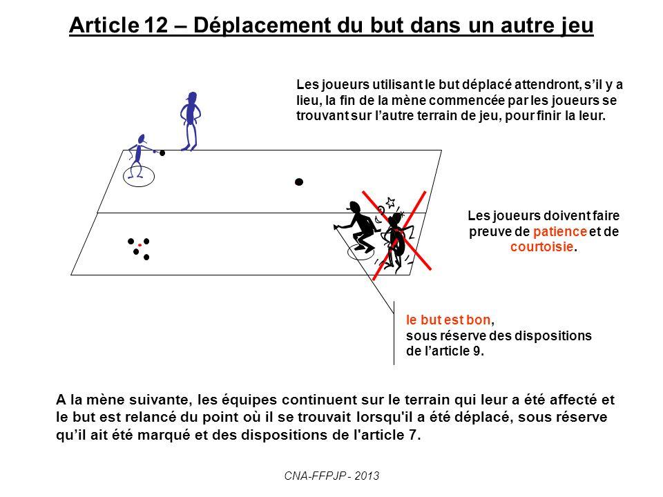 Article 11 – But masqué ou déplacé But masqué : enlever feuille ou papier Idem si le but est déplacé accidentellement par : un arbitre, un joueur, un