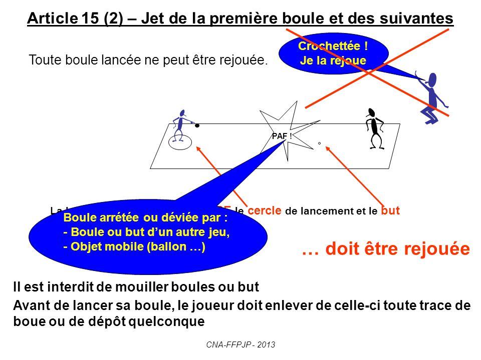Article 15 – Jet de la première boule et des suivantes La première boule d'une mène est lancée par un joueur de l'équipe qui a gagné le tirage au sort