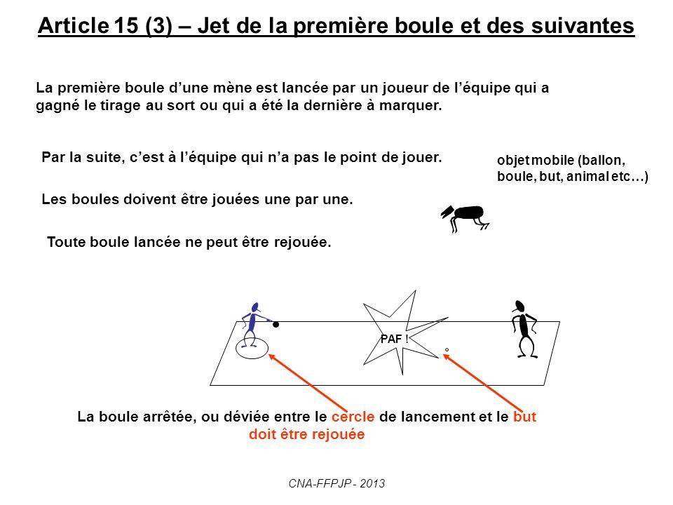 Article 15 (2) – Jet de la première boule et des suivantes PAF ! La boule arrêtée, ou déviée ENTRE le cercle de lancement et le but … Crochettée ! Je