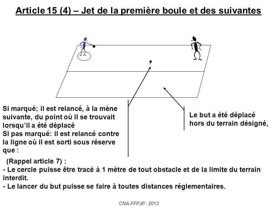 Article 15 (3) – Jet de la première boule et des suivantes La première boule dune mène est lancée par un joueur de léquipe qui a gagné le tirage au sort ou qui a été la dernière à marquer.