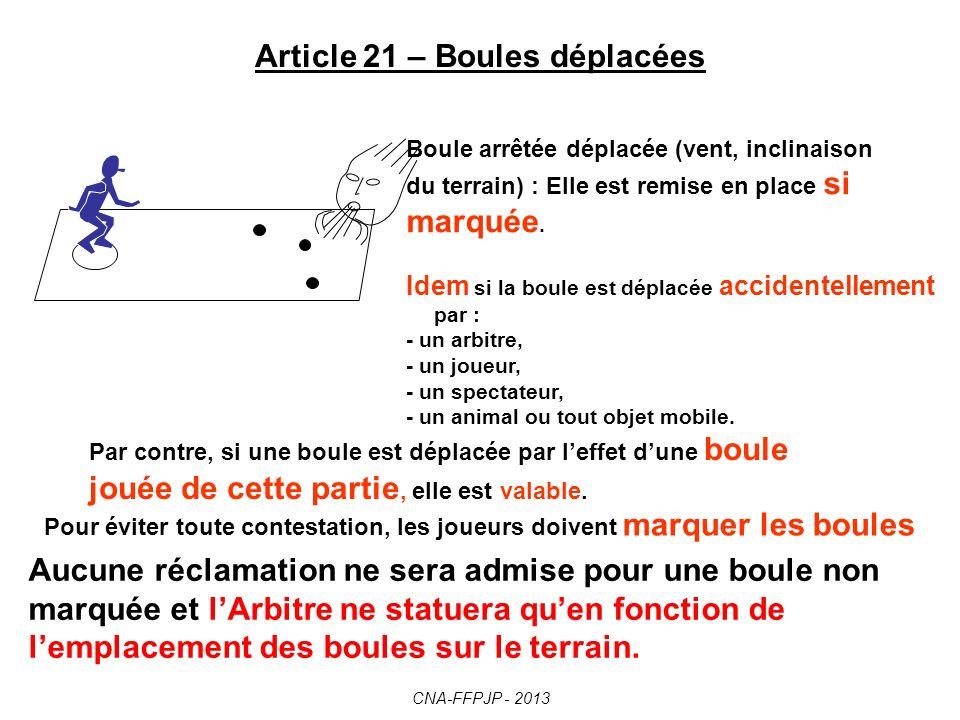 Article 20 – Temps autorisé pour jouer Dès que le but lancé dans les conditions règlementaires est arrêté, tout joueur dispose dune durée maximale dun