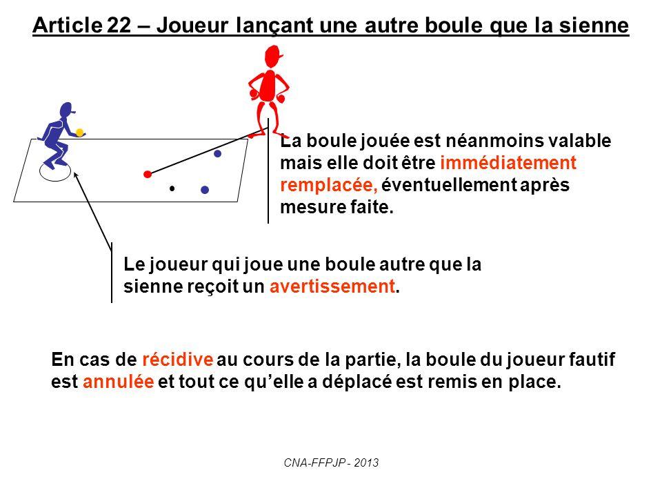 Article 21 – Boules déplacées Idem si la boule est déplacée accidentellement par : - un arbitre, - un joueur, - un spectateur, - un animal ou tout obj