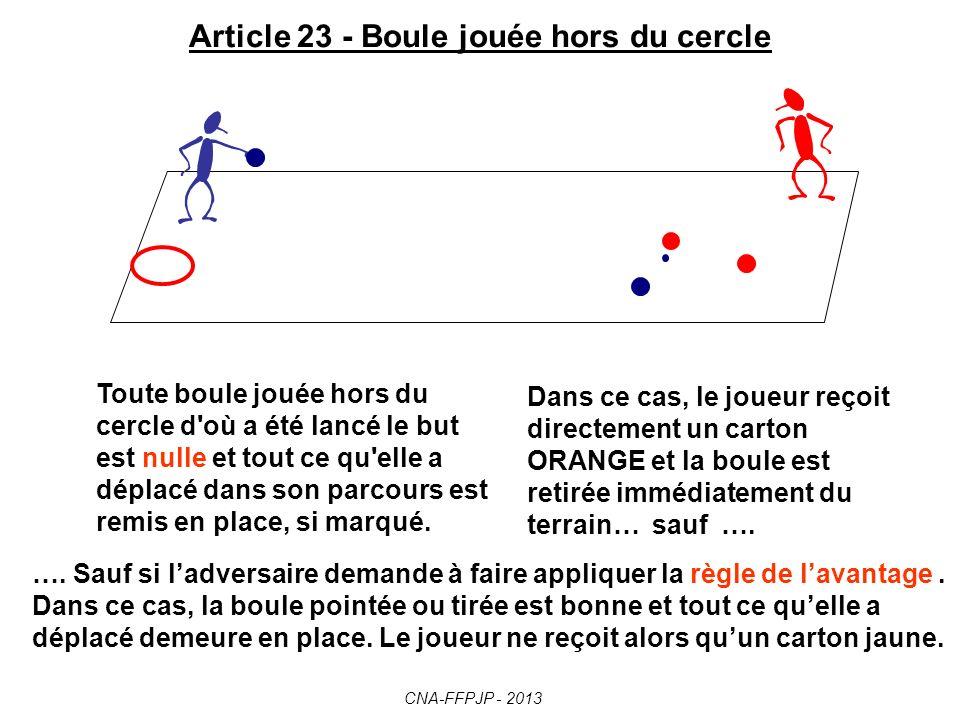 Article 22 – Joueur lançant une autre boule que la sienne En cas de récidive au cours de la partie, la boule du joueur fautif est annulée et tout ce quelle a déplacé est remis en place.