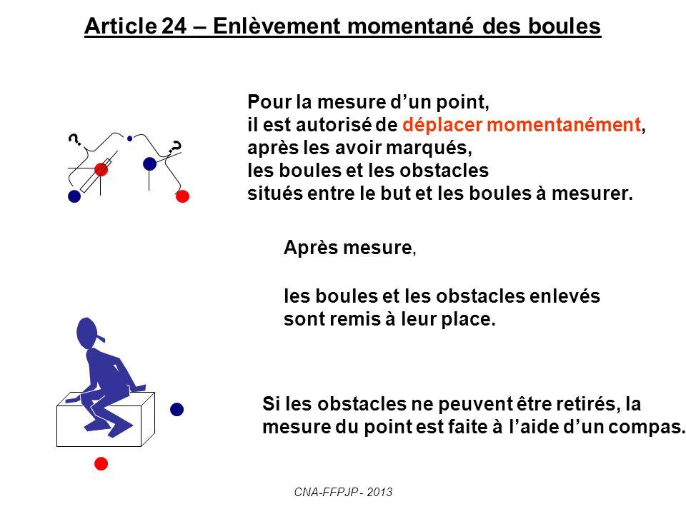 Article 23 - Boule jouée hors du cercle Toute boule jouée hors du cercle d où a été lancé le but est nulle et tout ce qu elle a déplacé dans son parcours est remis en place, si marqué.