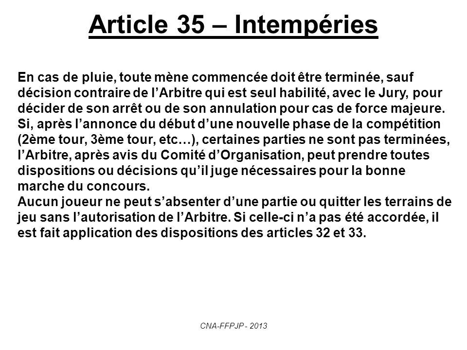 Article 34 – Sanctions Pour non-observation des règles ci-dessus, les joueurs encourent les sanctions suivantes : - Avertissement - Annulation de la b