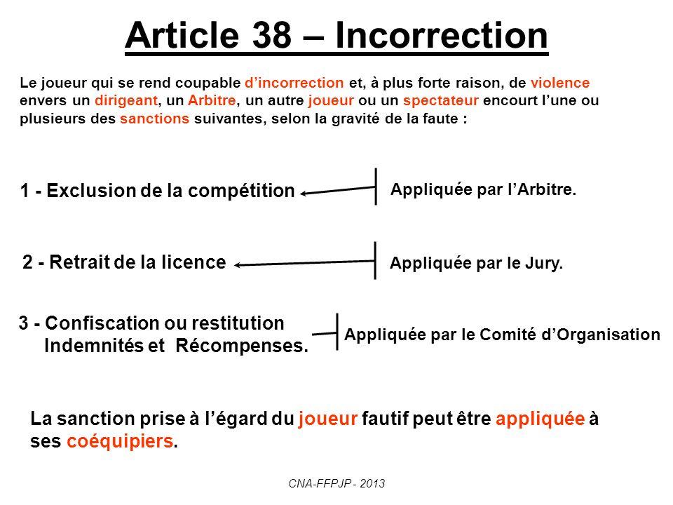Article 37 – Manque de sportivité Cette exclusion peut entraîner la non-homologation des résultats éventuellement obtenus, ainsi que lapplication des