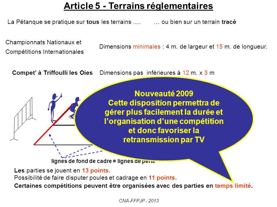 Article 5 - Terrains réglementaires La Pétanque se pratique sur tous les terrains ….… ou bien sur un terrain tracé Championnats Nationaux et Compétitions Internationales Dimensions minimales : 4 m.