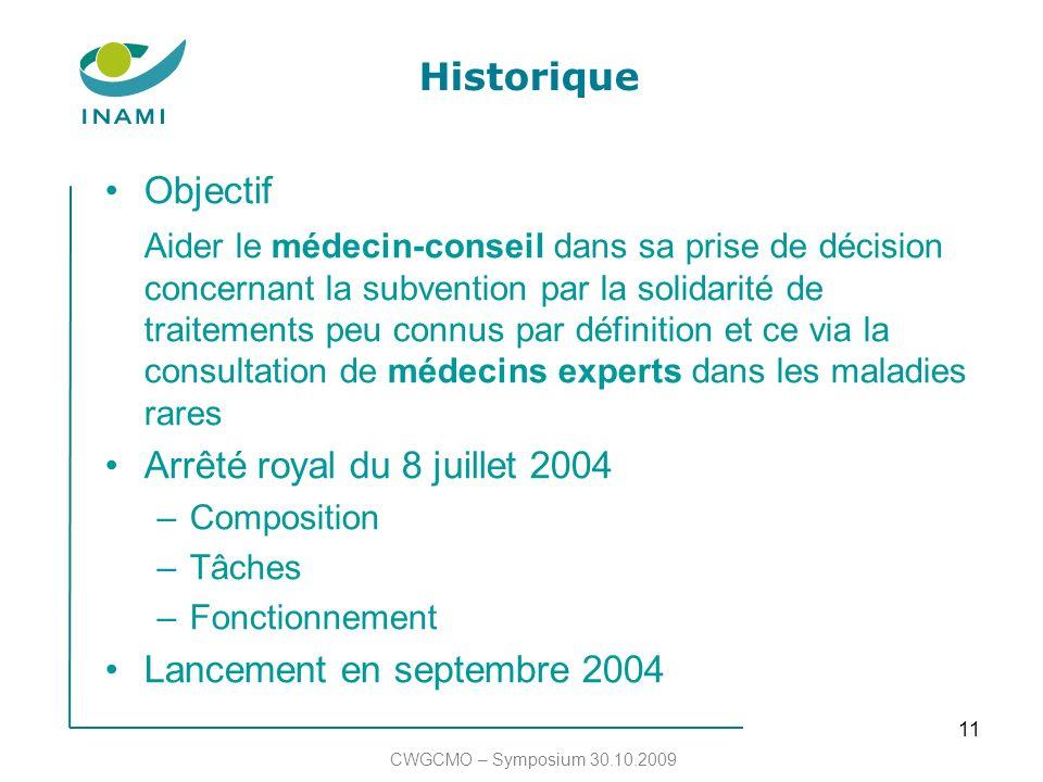 11 Historique Objectif Aider le médecin-conseil dans sa prise de décision concernant la subvention par la solidarité de traitements peu connus par déf