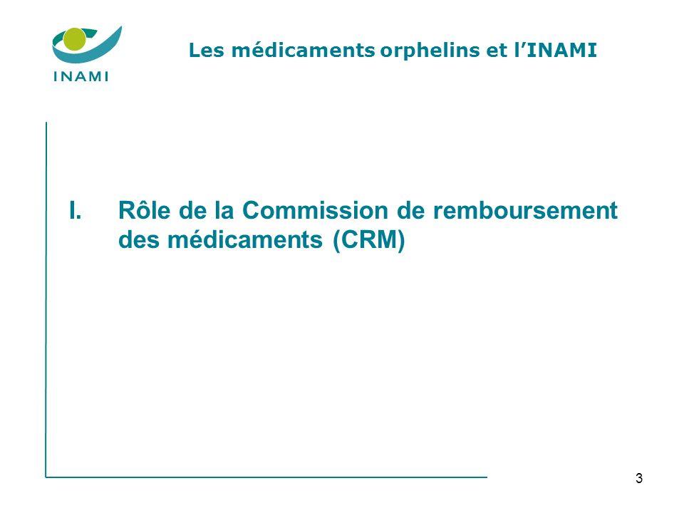 4 I.Rôle de la Commission de remboursement des médicaments 1.Emettre un avis concernant linscription éventuelle du médicament orphelin sur la liste des spécialités remboursées.
