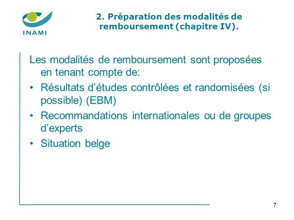 7 2. Préparation des modalités de remboursement (chapitre IV). Les modalités de remboursement sont proposées en tenant compte de: Résultats détudes co