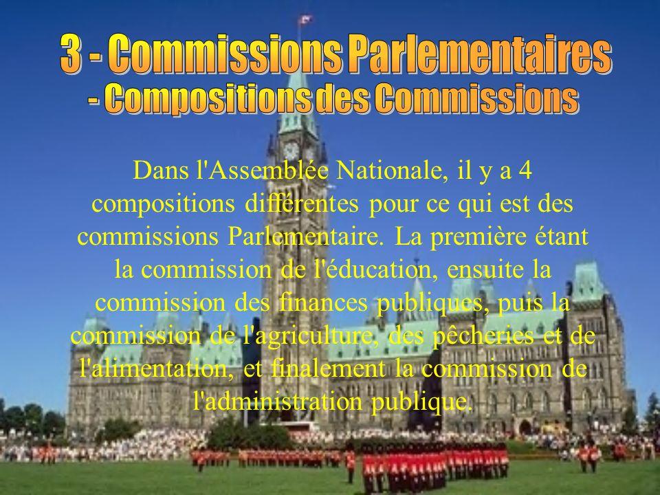 Dans l Assemblée Nationale, il y a 4 compositions différentes pour ce qui est des commissions Parlementaire.