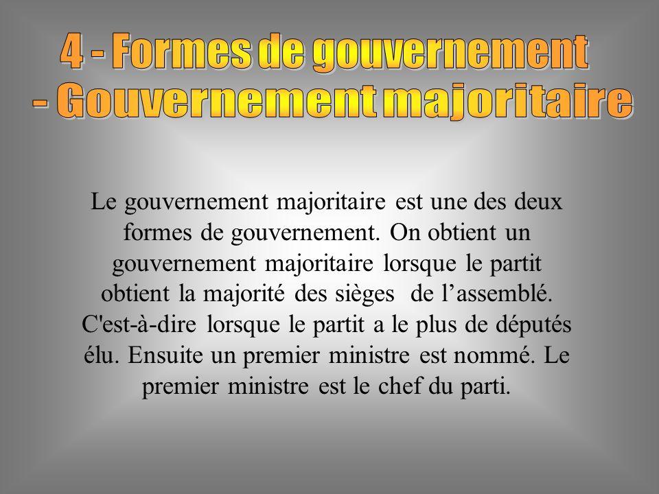 Le gouvernement majoritaire est une des deux formes de gouvernement.