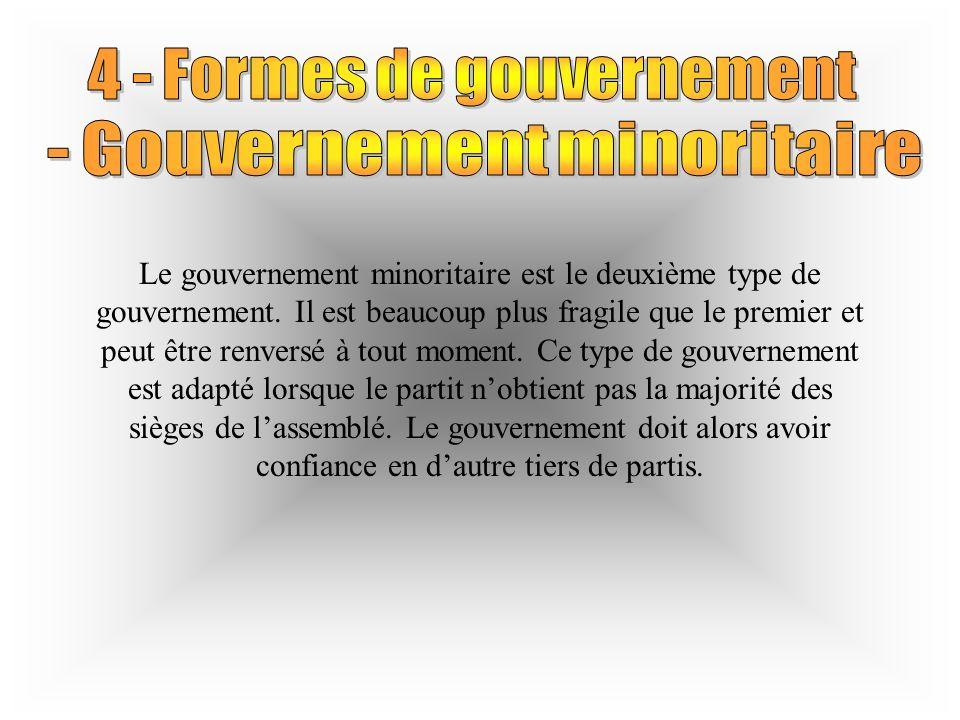 Le gouvernement minoritaire est le deuxième type de gouvernement.