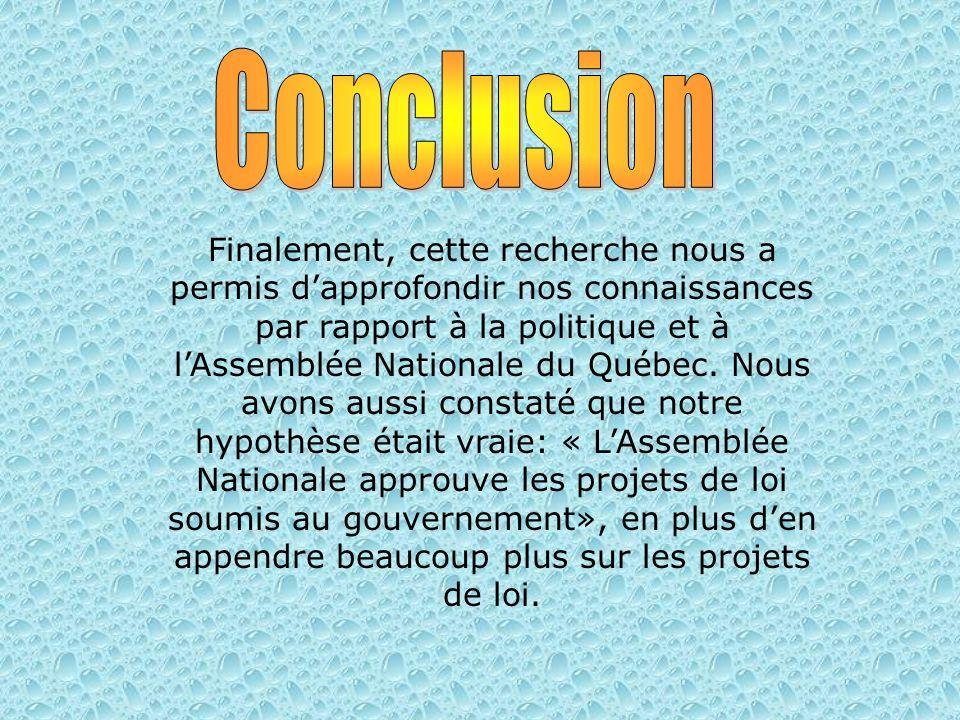 Finalement, cette recherche nous a permis dapprofondir nos connaissances par rapport à la politique et à lAssemblée Nationale du Québec.
