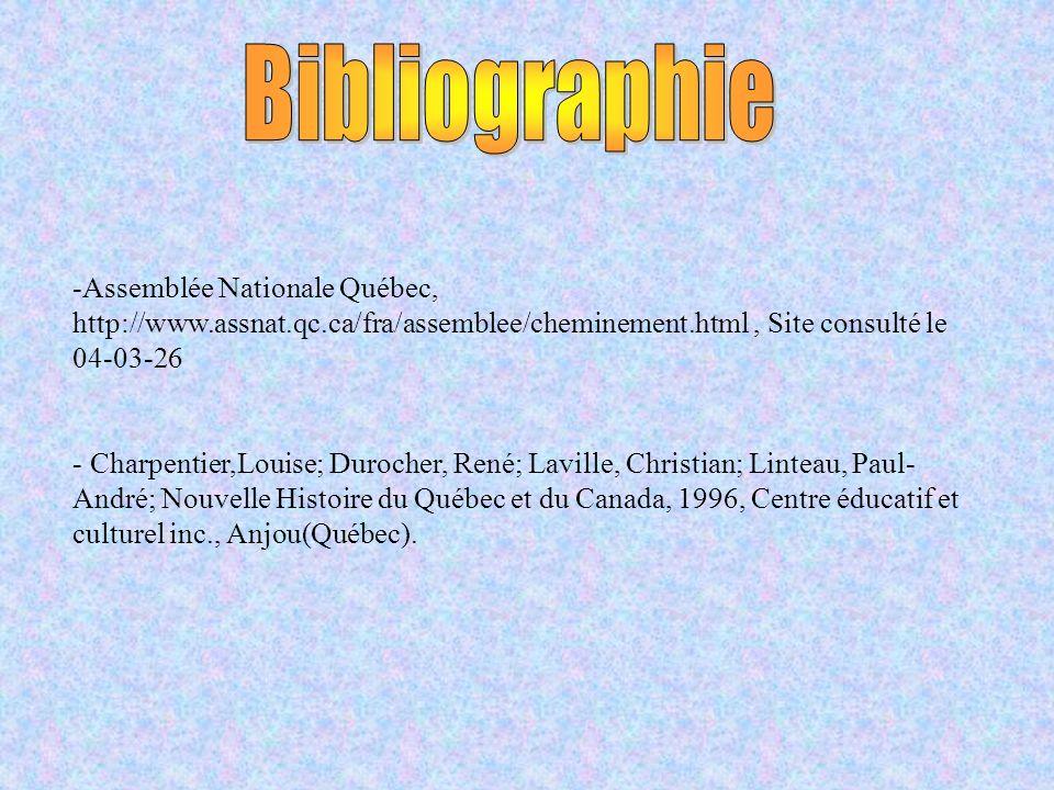 -Assemblée Nationale Québec, http://www.assnat.qc.ca/fra/assemblee/cheminement.html, Site consulté le 04-03-26 - Charpentier,Louise; Durocher, René; Laville, Christian; Linteau, Paul- André; Nouvelle Histoire du Québec et du Canada, 1996, Centre éducatif et culturel inc., Anjou(Québec).