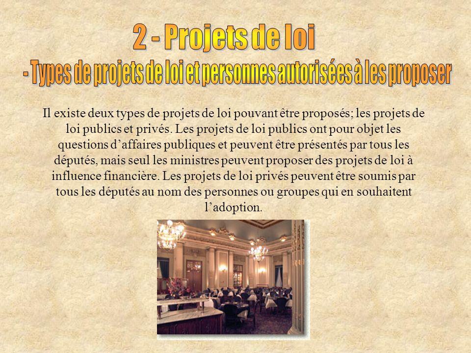 Il existe deux types de projets de loi pouvant être proposés; les projets de loi publics et privés.