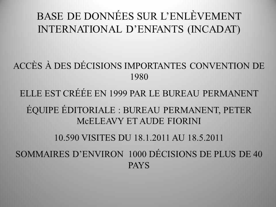 ACCÈS À DES DÉCISIONS IMPORTANTES CONVENTION DE 1980 ELLE EST CRÉÉE EN 1999 PAR LE BUREAU PERMANENT ÉQUIPE ÉDITORIALE : BUREAU PERMANENT, PETER McELEAVY ET AUDE FIORINI 10.590 VISITES DU 18.1.2011 AU 18.5.2011 SOMMAIRES DENVIRON 1000 DÉCISIONS DE PLUS DE 40 PAYS