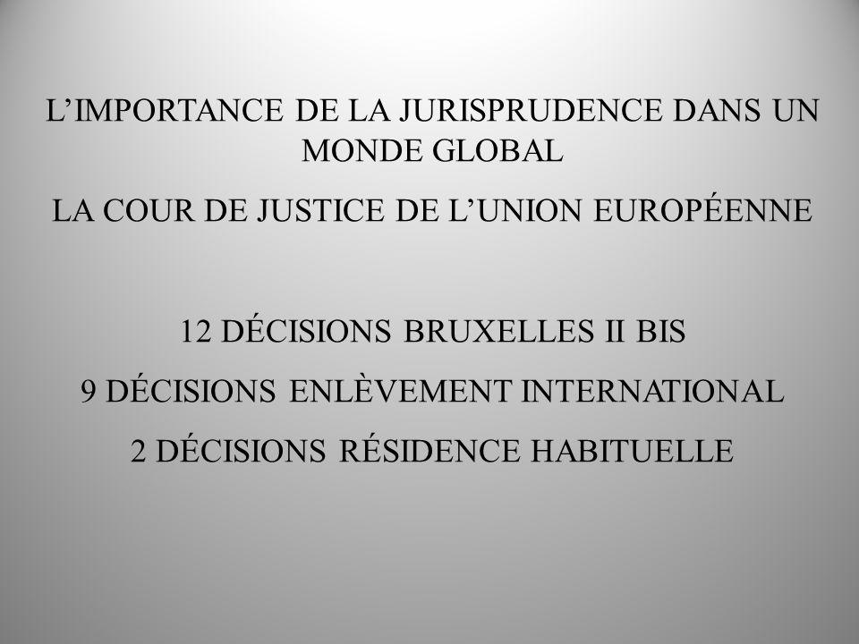 LIMPORTANCE DE LA JURISPRUDENCE DANS UN MONDE GLOBAL LA COUR DE JUSTICE DE LUNION EUROPÉENNE 12 DÉCISIONS BRUXELLES II BIS 9 DÉCISIONS ENLÈVEMENT INTERNATIONAL 2 DÉCISIONS RÉSIDENCE HABITUELLE