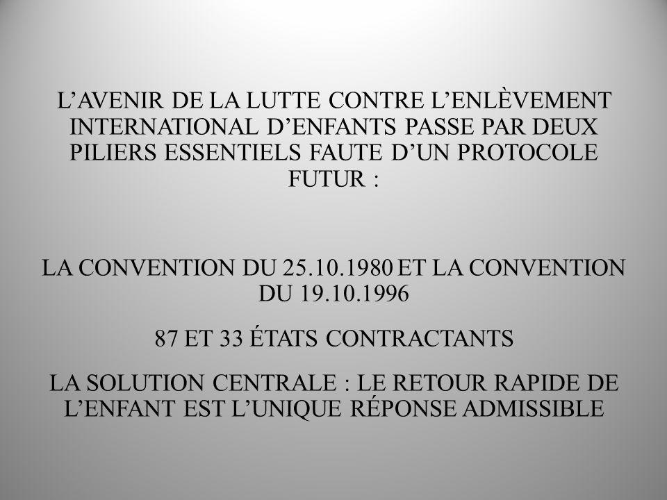 LA GRANDE NOUVEAUTÉ : LA CONVENTION DU 19.10.1996 ELLE CONSOLIDE LA CONVENTION DU 25.10.1980 ELLE FORTIFIE LA TÂCHE ESSENTIELLE DES AUTORITÉS DE LA RÉSIDENCE HABITUELLE DE LENFANT ELLE PERMET LADOPTION DE MESURES URGENTES (11 ET 12) ELLE PERMET DE RECONNAÎTRE DES MESURES DANS LE PAYS OÙ LENFANT EST RETOURNÉ (PAS BESOIN DORDONNANCES MIROIR) VISITES AU-DELÀ DE LART.