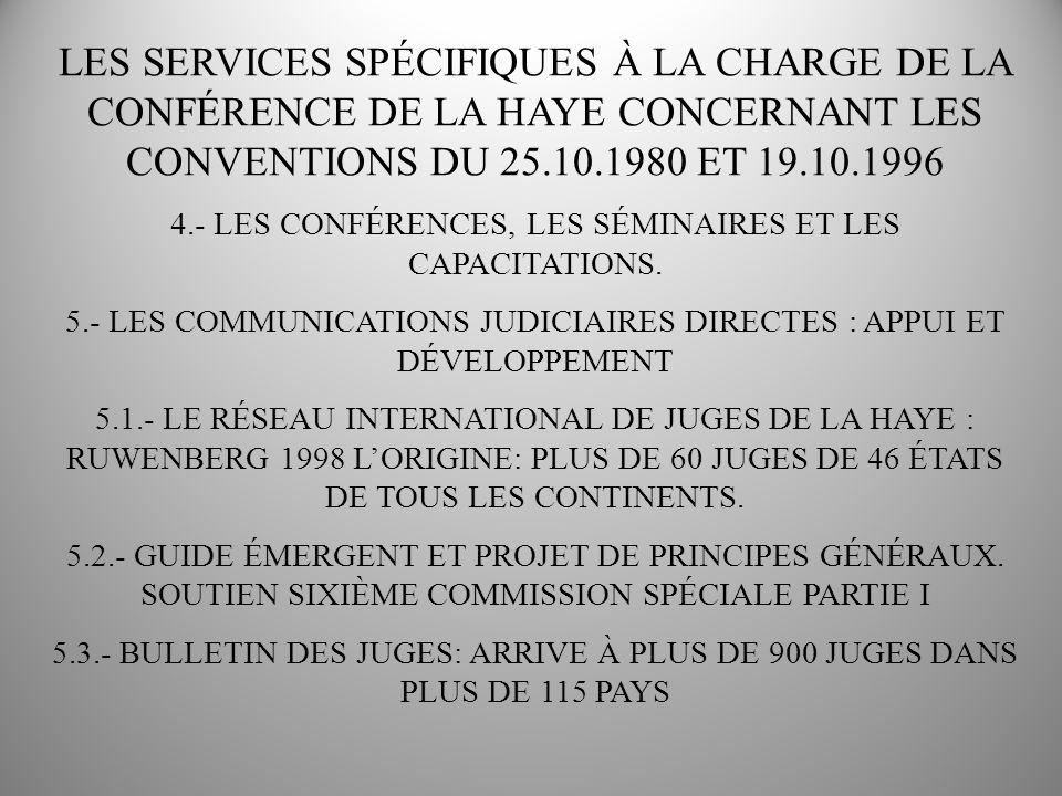 LES SERVICES SPÉCIFIQUES À LA CHARGE DE LA CONFÉRENCE DE LA HAYE CONCERNANT LES CONVENTIONS DU 25.10.1980 ET 19.10.1996 4.- LES CONFÉRENCES, LES SÉMINAIRES ET LES CAPACITATIONS.