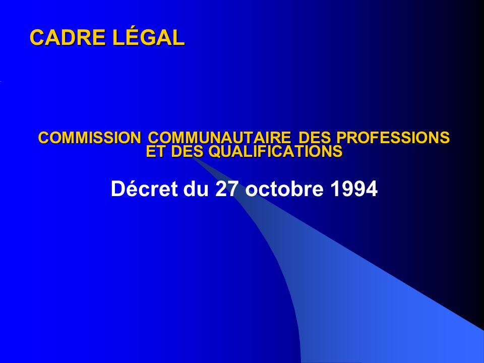 CADRE LÉGAL COMMISSION COMMUNAUTAIRE DES PROFESSIONS ET DES QUALIFICATIONS Décret du 27 octobre 1994