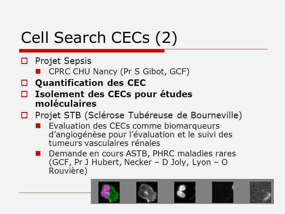 Cell Search CECs (2) Projet Sepsis CPRC CHU Nancy (Pr S Gibot, GCF) Quantification des CEC Isolement des CECs pour études moléculaires Projet STB (Scl