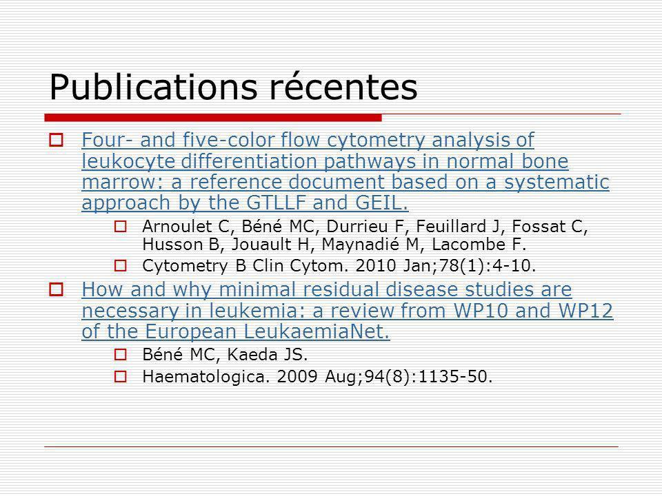 Cell Search CECs (2) Projet Sepsis CPRC CHU Nancy (Pr S Gibot, GCF) Quantification des CEC Isolement des CECs pour études moléculaires Projet STB (Sclérose Tubéreuse de Bourneville) Evaluation des CECs comme biomarqueurs dangiogénèse pour lévaluation et le suivi des tumeurs vasculaires rénales Demande en cours ASTB, PHRC maladies rares (GCF, Pr J Hubert, Necker – D Joly, Lyon – O Rouvière)