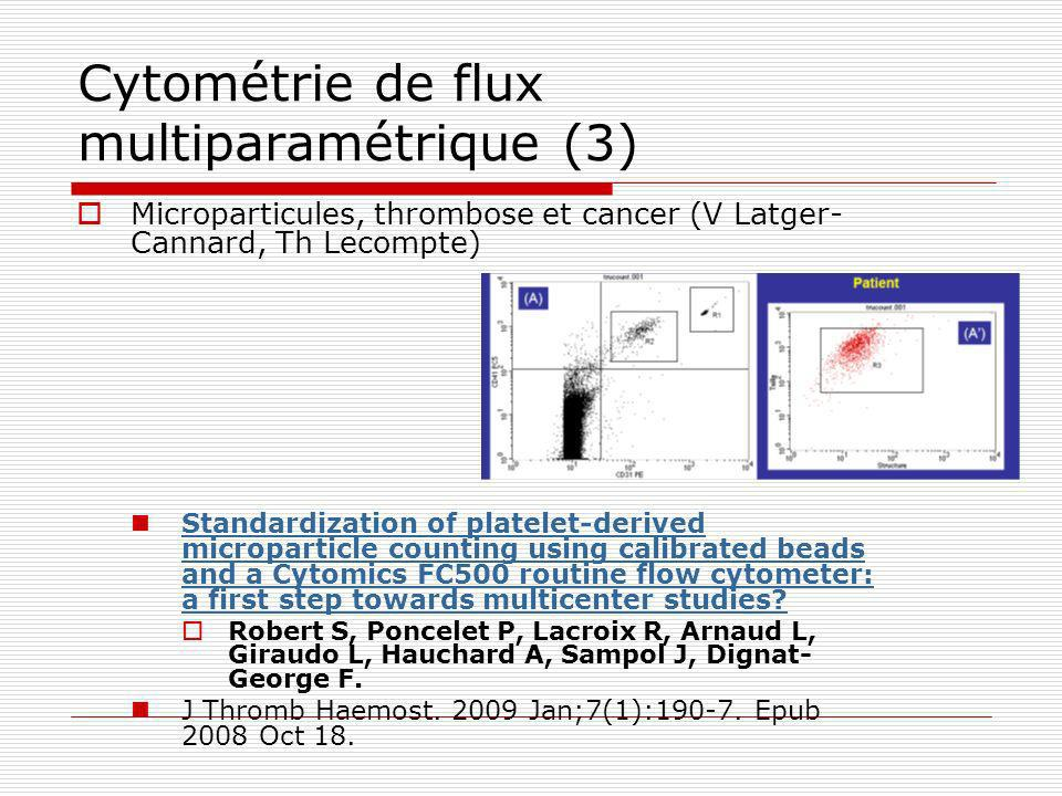 Cytométrie de flux multiparamétrique (3) Microparticules, thrombose et cancer (V Latger- Cannard, Th Lecompte) Standardization of platelet-derived mic