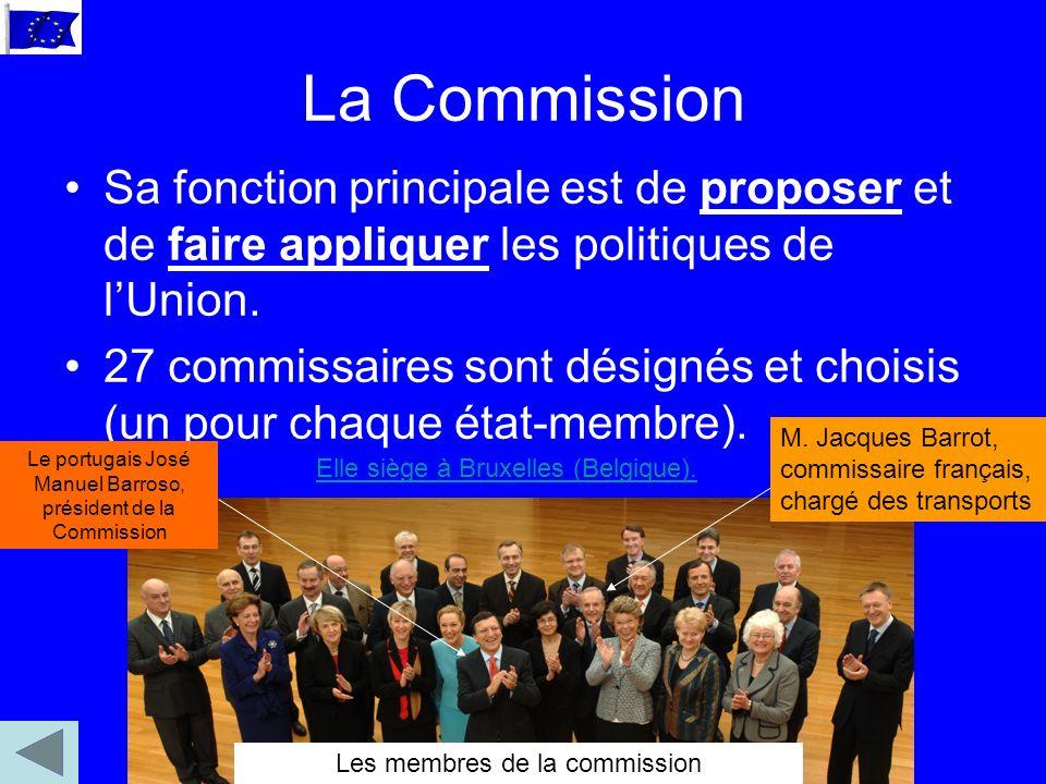La Commission Sa fonction principale est de proposer et de faire appliquer les politiques de lUnion.